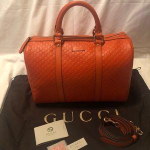Gucci GG Orange Leather Boston Bag Speedy BNWT
